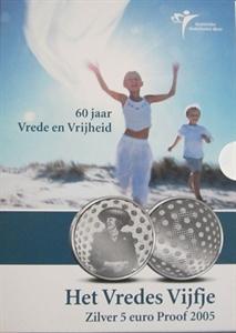 Picture of 5 euro zilver proof 2005 60 Jaar Vrede en Vrijheid (vredesvijfje)