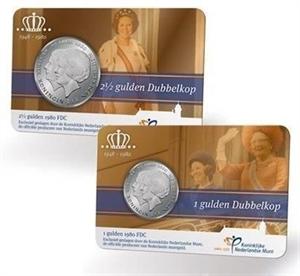 Picture of Coincards 1980 dubbele kop gulden en rijksdaalder (dus setje van 2)
