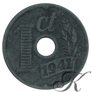 Picture of 1 cent 1941 zink centrale doorboring
