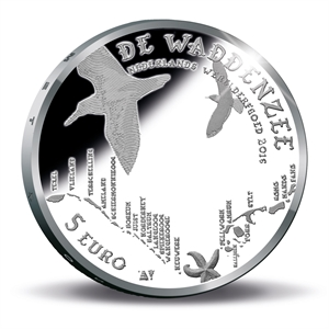 Picture of 5 euro zilver proof 2016 Wadden