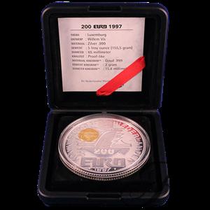 """Picture of Zilveren penning """"200 Euro"""" met gouden kinegram - Luxemburg 1997"""