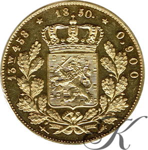 Picture of Dubbele Negotiepenning of 20 gulden goud 1850 (RRR)