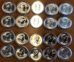 Picture of Lot van 20 x Zilveren Maple Leafs in capsule (10 x 2014 en 10 x 2016)
