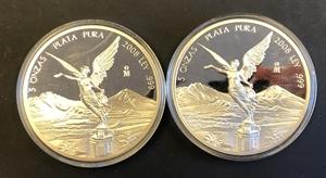 Picture of 2 zilveren munten van 5 ounce per stuk Mexico - Proof